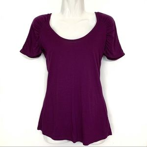 The Limited Ruched Sleeve Plum Tee Shirt S